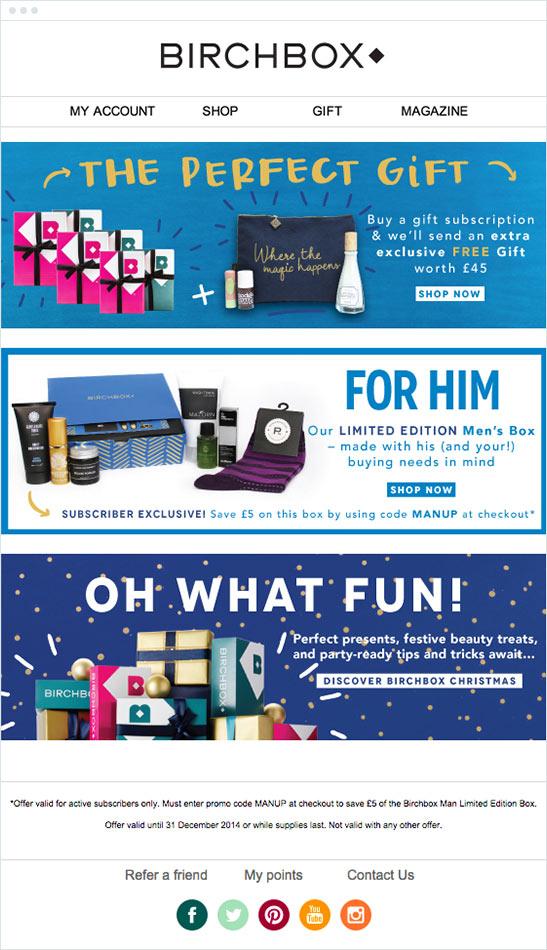 Birchbox email marketing example