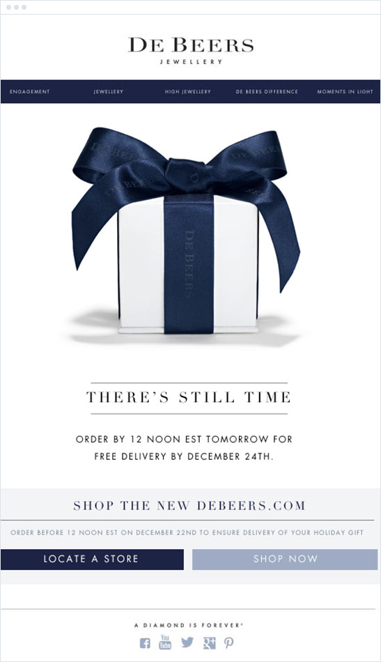 De Beers holiday email marketing campaign