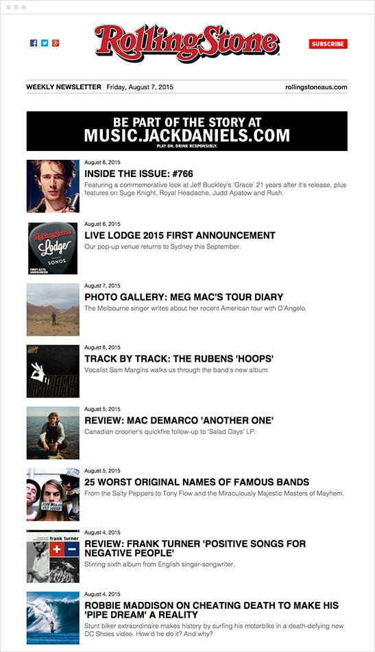 rolling stone newsletter example