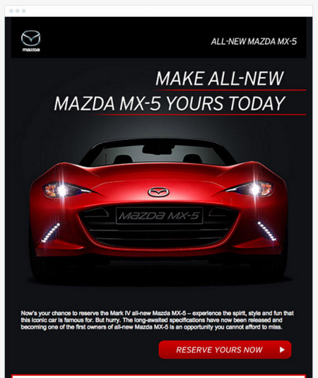 CTA example from Mazda