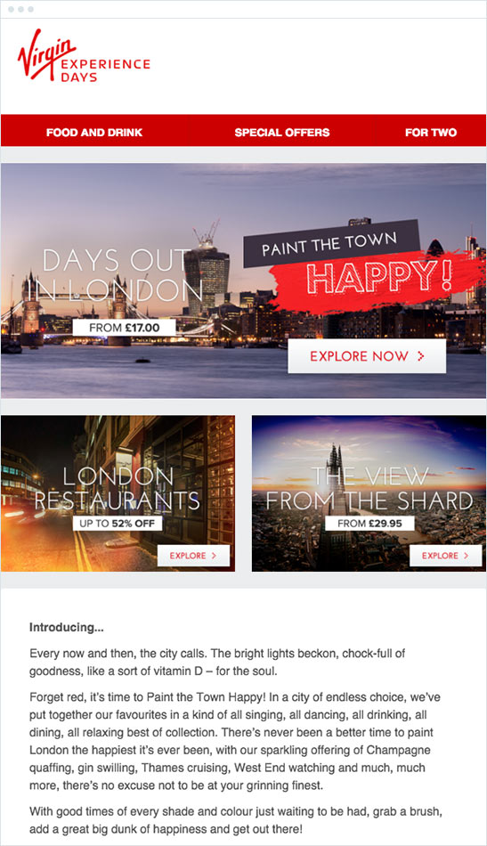 Virgin Experience Days email example