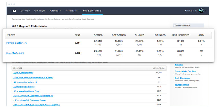 Campaign Monitor - Lists and Segments Report