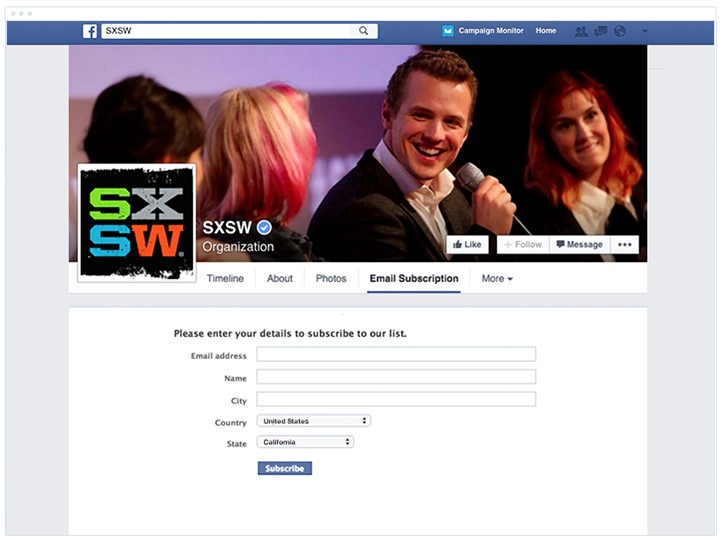 SXSW - Facebook Subscribe Form