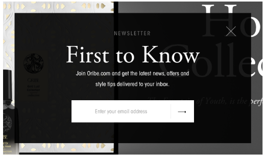 Oribe's email sign up form