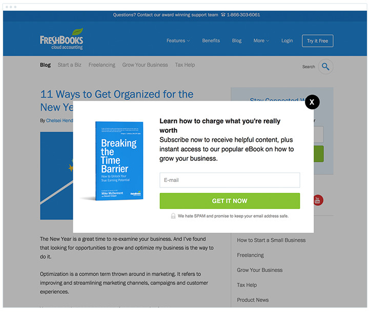 Freshbooks - Blog Subscription Form
