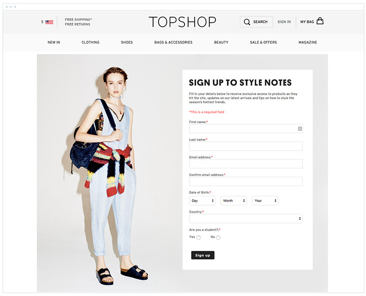 Topshop - Subscribe Form